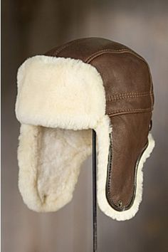 IFSUN Mens Shearling Sheepskin Trapper Russian Aviator Trooper Winter Fur Hat