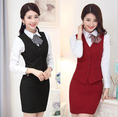 Ladies Vest Skirt Fashion Hotel Reception Uniform Hotel Front Office Uniform for Receptionist Uniform Design WS592