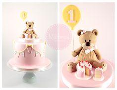 Teddy bear and bunting cake