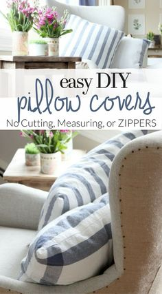 Follow this SUPER simple tutorial to make easy pillow covers from Ikea dish towels. - No Cutting - No Measuring - NO ZIPPERS - Make these inexpensive farmhouse style pillows with easy envelope pillow covers.