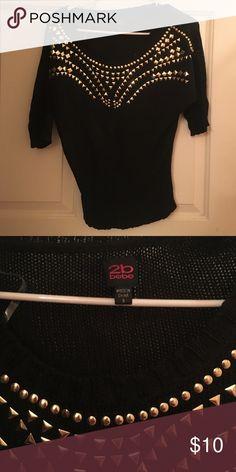 2b Bebe black sweater with gold rhinestones 2b Bebe black sweater with rhinestones, great condition bebe Sweaters Crew & Scoop Necks