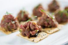 New Spring Menu: Beef Tartare, Sesame Chip, Black Garlic Puree, Chive