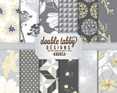 Digital paper pack scrapbook INSTANT DOWNLOAD - grey, gray, yellow, floral, houndstooth, flowers - ANDREA
