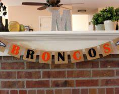 Superbowl Banner, Denver Broncos, Burlap, Peyton Manning, Decoration, Football