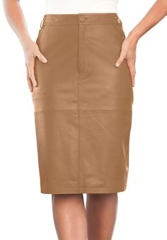 The always chic plus size pencil skirt now in luxe leather, natural.  By Jessica London  #jessica #london #jessicalondon #skirt #leather #pencil #natural #neutral #chic