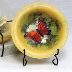 Habersham Wax Pottery Bowl Butterfly Garden Yellow