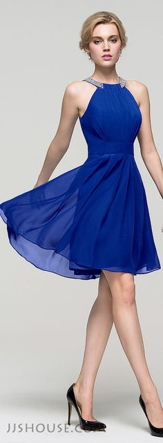 A-Line/Princess Scoop Neck Knee-Length Chiffon Homecoming Dress With Ruffle Beading. #JJsHouse