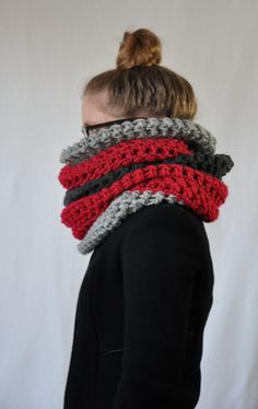 Red Color Block Pembroke Cowl by Yokoo