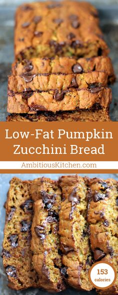 Pumpkin Zucchini Chocolate Chip Bread A delicious and moist low fat healthy pumpkin bread with zucchini and chocolate chips! This is amazing!A delicious and moist low fat healthy pumpkin bread with zucchini and chocolate chips! This is amazing! Pumpkin Zucchini Bread, Healthy Pumpkin Bread, Healthy Zucchini Bread, Healthy Pumpkin Recipes, Zuchinni Cookies, Low Fat Vegan Recipes, Pumpkin Loaf, Healthy Baking, Healthy Desserts
