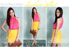 Wrap skirt in sunshine yellow.