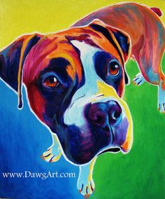 Colorful Pet Portrait Boxer Dog Art Print 8x10 by Alicia VanNoy Call. $12.00, via Etsy.