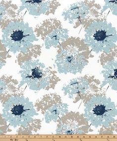 Spa Blue  Valance. Floral Valance.  Light blue, Taupe and Indigo. Window…