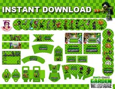 GARDEN WARFARE Plants vs Zombies Birthday Decoration kit Instant Download, in English, Garden Warfare Party Decoration, Toppers, Wrappers