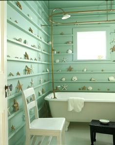 Aqua Planked Wall Beachy Bath Remodel by Kerry Joice