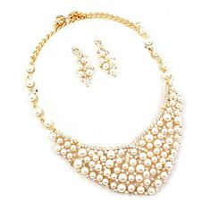 "Bridal Wedding Jewelry Set Crystal Rhinestone Pearl Stunning Bib Gold Cream AB Accessoriesforever. $36.00. Dimensions: Necklace: 19"" Long + 3"" extension (Lobster Claw Closure); Earrings: Approx. 1.75"" Drop x 0.6""W (Post Back Closure). Nickel / Lead Free. Color: Goldtone, AB (Aurora Borealis), Cream. Material: AB (Aurora Borealis) Crystals, Rhinestones, White Faux Pearls, Metal Casting, Shiny Rhodium Plated. Style: Bib Design"