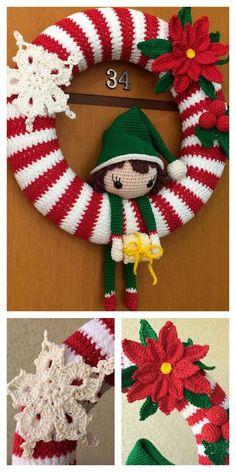 Crochet Christmas Wreath, Crochet Wreath, Crochet Christmas Decorations, Crochet Ornaments, Holiday Crochet, Christmas Wreaths, Christmas Crafts, Christmas Christmas, Crochet Snowflakes