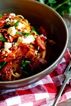 Tomato and chorizo pasta with feta