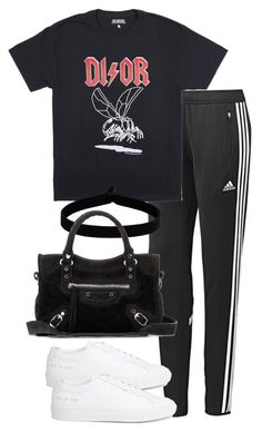 """""""Untitled #2926"""" by theeuropeancloset on Polyvore featuring adidas, Common Projects, The Flexx and Balenciaga"""