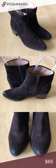Corso como Chatham brown suede booties 8 Gently used, light general wear. Corso como Chatham brown suede stacked heel booties size 8. Side zipper oiled toe and heel cup.   Heel heigh~1.75inches Shaft~4.75inches inside, ~5.5inches outside Corso Como Shoes Ankle Boots & Booties