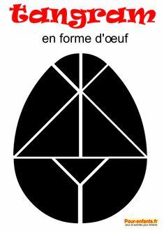 tangram oeuf de Pâques à imprimer en noir. Pour enfants. Jeu de tangram grand format.