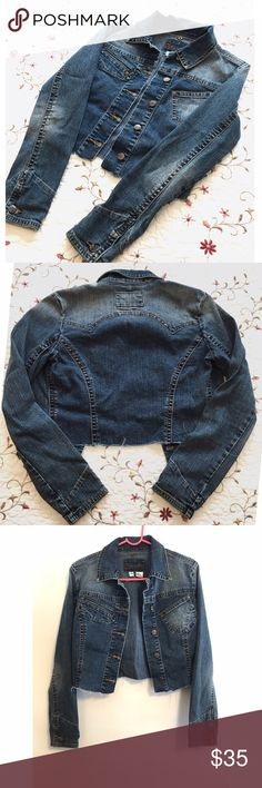 """Destroyed Denim cropped jean jacket 💕 So cute and wearable for any season! Jacket has a """"cut"""" look on the bottom, as well as distressed denim throughout. Style it with any look! No trades!! Jackets & Coats Jean Jackets"""