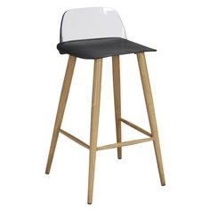 Lpd furniture Chelsea black bar stool (pair). Bring a fresh air of ambience to your kitchen with these designer Scandinavian look bar stools. Features a trendy transparent plastic moulded backrest supported with solid wood legs. Now available at www.emporiumhomeinteriors.co.uk