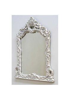 Espejo apaisado de madera tallada blanco madera tallada for Espejo horizontal salon
