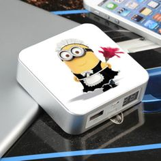 The minions dual port portable power supply for mobile phone.