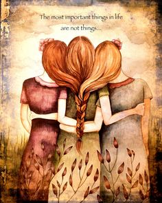Three Sisters vintage art print by Claudia Tremblay. Absolutely L-O-V-E this. Love My Sister, Best Sister, Funny Sister, Sisters Art, Three Sisters, Sisters Images, Claudia Tremblay, Sibling Gifts, Debbie Macomber
