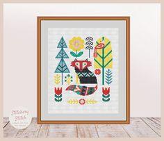 Fox cross stitch pattern, Fox cross stitch, Fox embroidery design, Fox embroidery pattern, Fox pattern, Primitive folk art, Folk fox, PDF