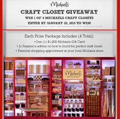 Enter now for your chance to win with our Craft Closet Giveaway! Crafts To Make, Home Crafts, Crafts For Kids, Diy Crafts, Michaels Craft, Thing 1, Craft Storage, Storage Ideas, Michael Store