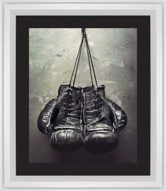 Boxing Gloves Framed Print, White, Classic, Black, Black, Single piece, 16 x 20 inches, White