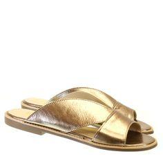 Sandália Rasteira Ouro 0885 Armada para Moselle   Moselle sapatos finos femininos! Moselle sua boutique online.