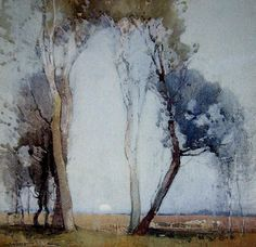 Works on Paper - Sydney Long - Page 7 - Australian Art Auction Records Watercolor Trees, Watercolor Artists, Watercolor Landscape, Watercolor And Ink, Landscape Art, Landscape Paintings, Watercolor Paintings, Watercolours, Australian Painters