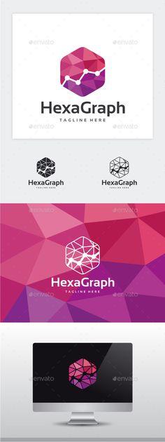 Hexa Graph Logo: Symbol Logo Design Template created by yopie. Id Design, Graphic Design, Logo Photoshop, Ep Logo, Data Logo, Restaurant Logo, Bussiness Card, Studio Logo, Cool Business Cards