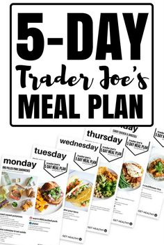 Check out this 5-day Trader Joe's meal plan! This meal plan menu will make your weeknight dinner schedule SO easy and SO healthy! You'll enjoy every meal and stay totally on track for your healthy diet! #mealplan #healthyeating #lowfatrecipes