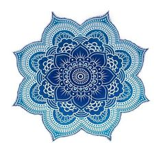 Labhanshi100% Cotton Large Round Lotus Flower Mandala Light Weight Tapestry - Outdoor Beach Roundie - Hippie Gypsy Boho Throw Towel Tablecloth Hanging Ocean Blue Turquoise Huge