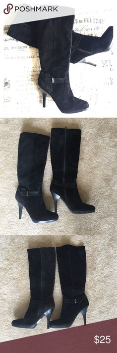 Worthington black suede Mercury heeled boots Black suede with cute silver embellishment, side zip, heeled. Worn once. Worthington Shoes Heeled Boots