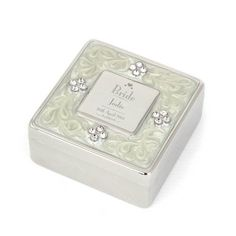 Decorative Wedding Bride Square Diamante Trinket Box