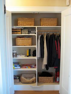 Thinking Something Similar For Back Closet   Shelf For Each Member Of The  Family, Some Hanging, A Bucket For Hats, And A Shoe Rack!