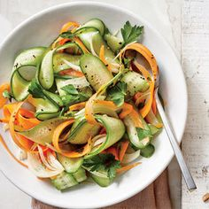 A 5-minute soak in the vinaigrette softens the carrots slightly and removes a bit of the pungent bite from the onion.