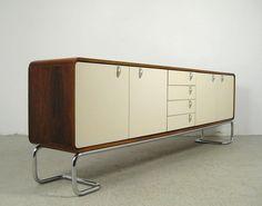 c. 1970 Rosewood Sideboard with Tubular Steel   Designer: Unknown Via