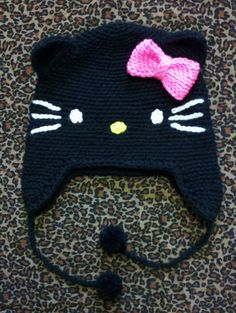 Crochet Hello Kitty Earflap Beanie Hat - Picture Idea