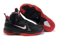 Air Foamposite Nike LeBron 9 Black White Sport Red [Nike LeBron 9 - Black leather, synthetic leather, and mesh upper with red and white accents. On the outsole, Lebron 9 use new type of solid rubber to enhance g Lebron 9 Shoes, Nike Kd Shoes, New Jordans Shoes, Nike Lebron, Sneakers Nike, Michael Jordan Shoes, Air Jordan Shoes, Red Basketball Shoes, Sports Shoes