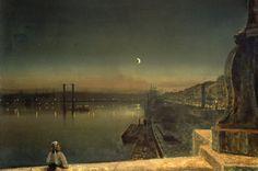 John Atkinson Grimshaw-Rouen At Night From The Pont De Pierre, 1878