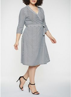 14844231594 Plus Size Striped Faux Wrap Dress