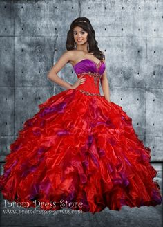 Red and Purple Ball Gown Sweetheart Neckline Floor length Sleeveless  Quinceanera Dress with Beading