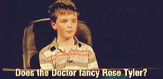 (Gif) A little boy asks Christopher Eccelston if the Doctor fancies Rose Tyler. See his response. This is too cute!!