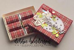 Thursday is here with a beautiful Festive Farmhouse Gift Box of Chocolates! Christmas Gift Box, Christmas Holidays, Hershey Miniatures, Treat Holder, Miniature Crafts, Chocolate Box, Stamping Up, Craft Fairs, Holiday Crafts