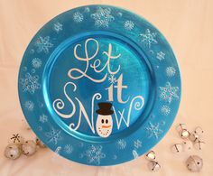 """Festive blue decorative plate embedded with snowflakes Hand painted """"Let it Snow"""" design with snowman face Cute addition to any dinning room/kitchen christmas d Christmas Plates, Blue Christmas, All Things Christmas, Winter Christmas, Christmas Holidays, Snowman Crafts, Christmas Projects, Holiday Crafts, Holiday Fun"""